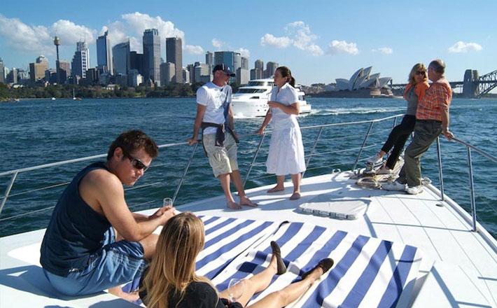 Boat Charter Sydney MV Calypso Boat Hire friends relaxing on deck