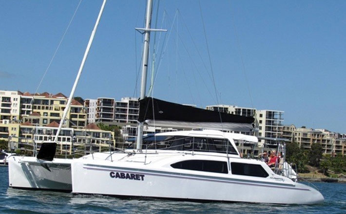 Catamaran Hire Sydney Seawind 1000XL luxury charter catamaran on the water
