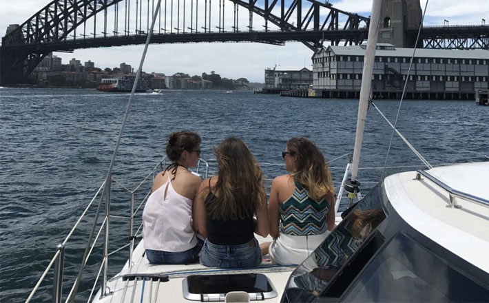 Catamaran Hire Sydney Seawind 1000XL friends overlooking the water