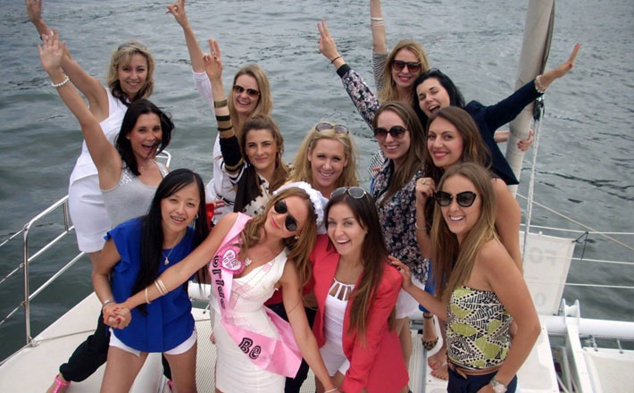Catamaran Hire Sydney Seawind 1000XL bridal party on board
