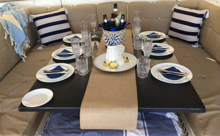 Catamaran Hire Sydney Seawind 1000XL comfortable dining area